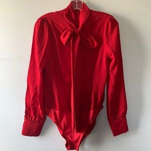 Long Sleeve Red Bodysuit Button Front Size S